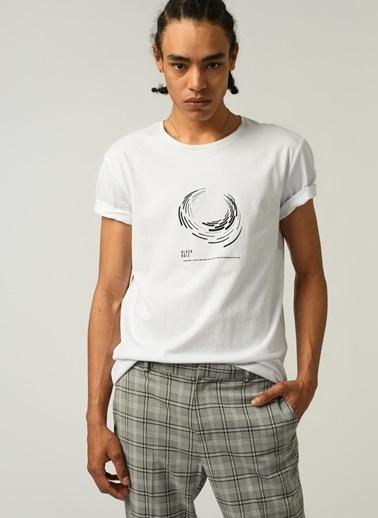 People By Fabrika Erkek Baskılı  Tişört PFESS21TS0024 Beyaz